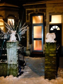 snowy statues.
